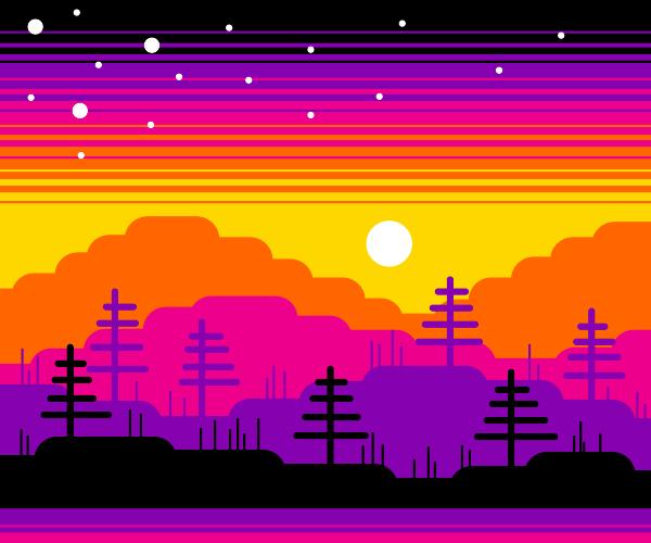 Colorful Mountain Scene