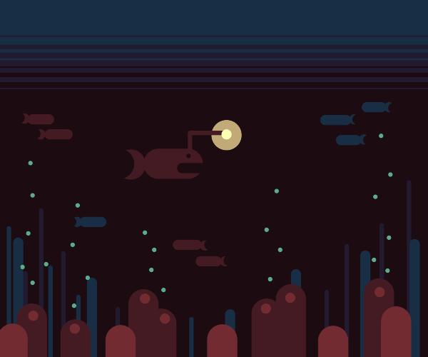 Anglerfish in the deep