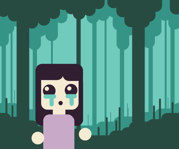 She sobbed, hopelessly lost in the woods