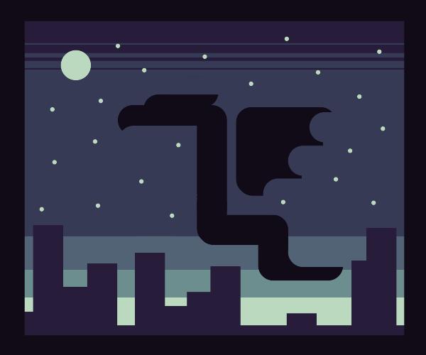 Dragon soaring across the night sky