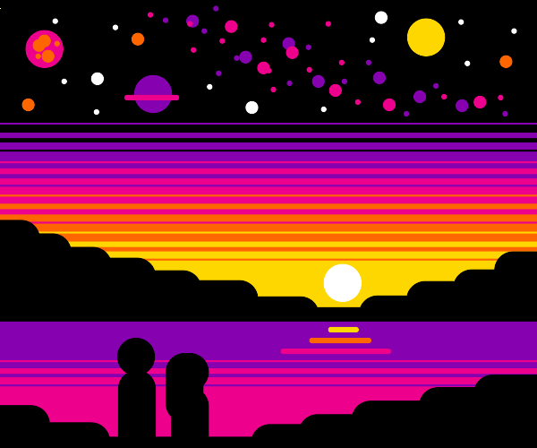 two friends watching a sunset :)