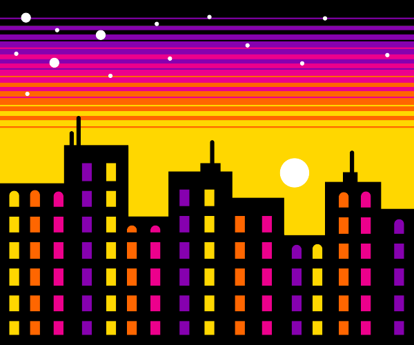 Sunset in a city