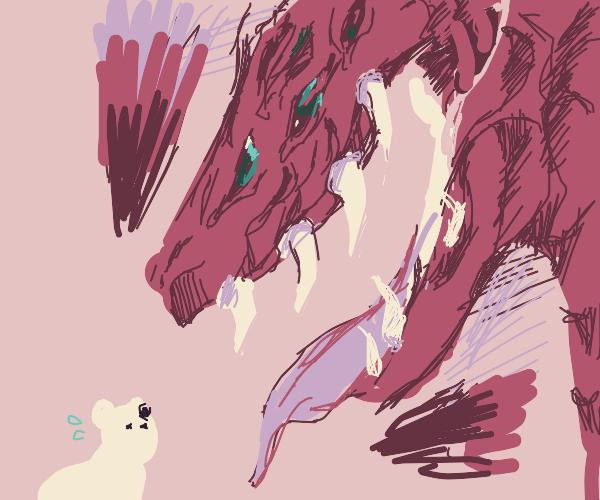 dragon rawrs at polar bear