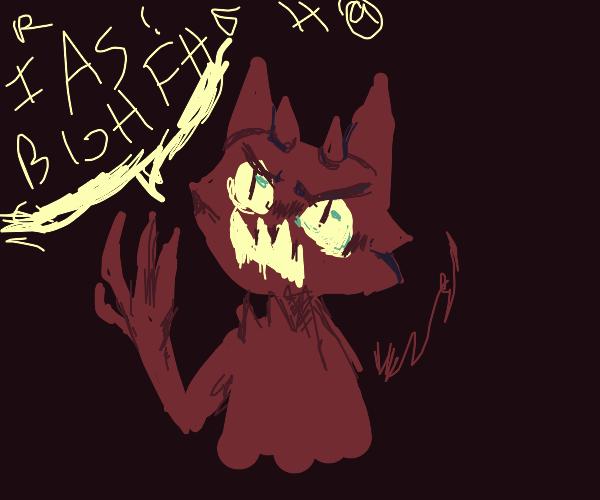 red devil cat says giberish
