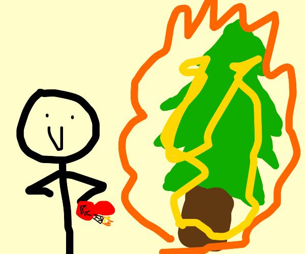 man sets fire to a tree