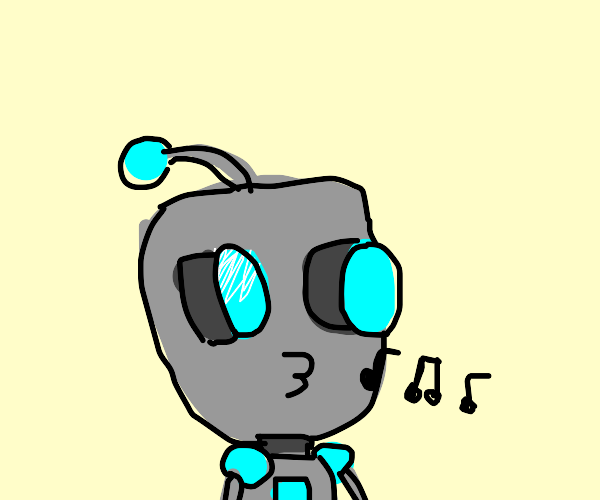 Gir the robot whistling innocently