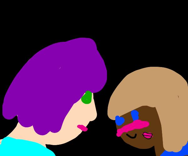 A cute couple kissing