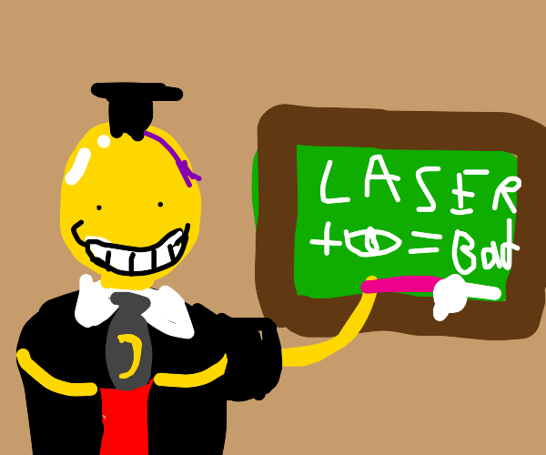 Koro Sensei teaches not to point laser in eye