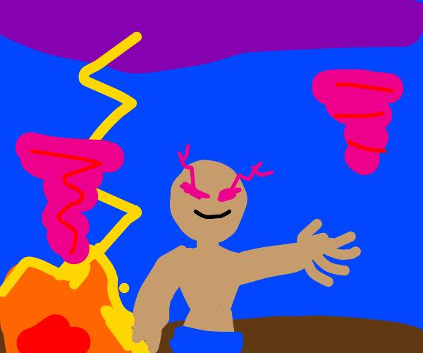 Shirtless man between 2 pink tornados