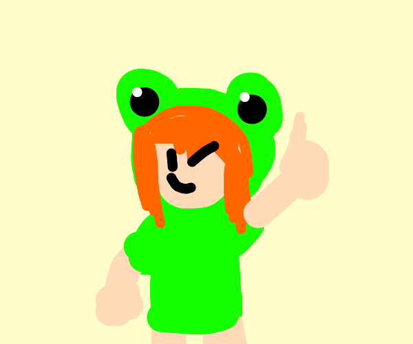 Girl with frog shirt gives thumbs up