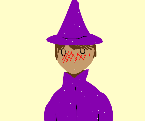 Blushing wizard with purple coat & brown hair