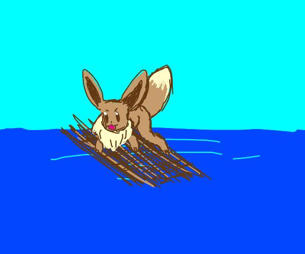 eevee on a raft in the ocean