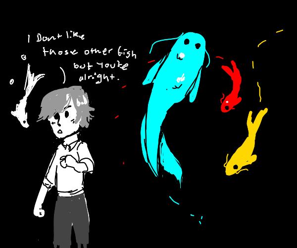 A boy who hated rainbow coloured fish