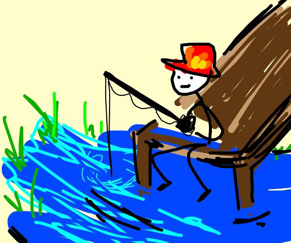 Firefighter going fishing