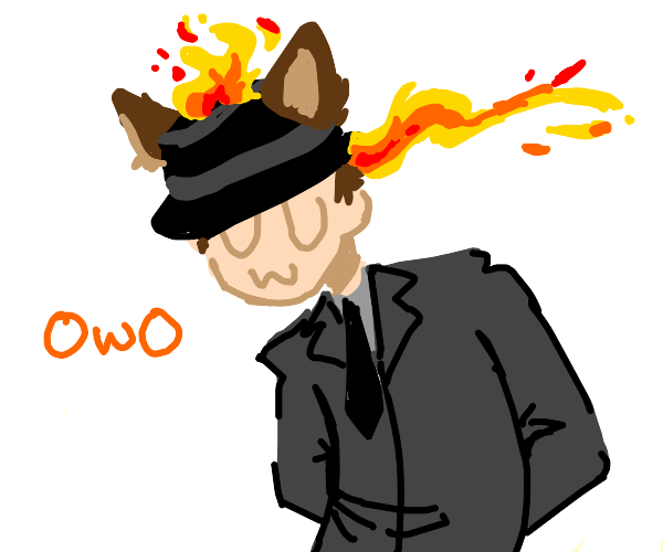 Man with flaming fedora and fake wolf ears
