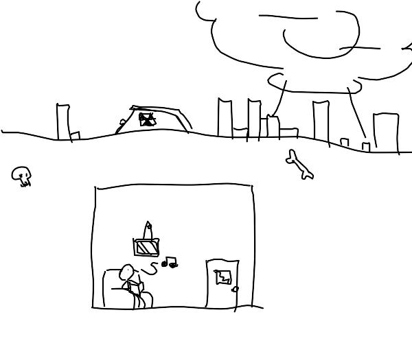man in underground house