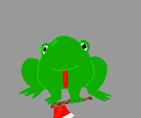 Frog holding an axe