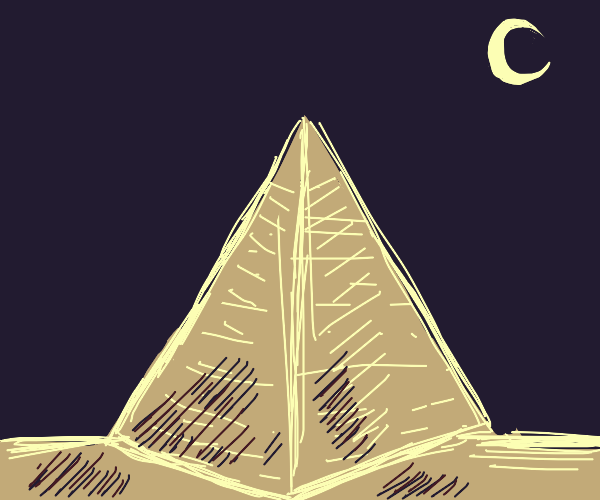 Pyramid at night with Cresent Moon