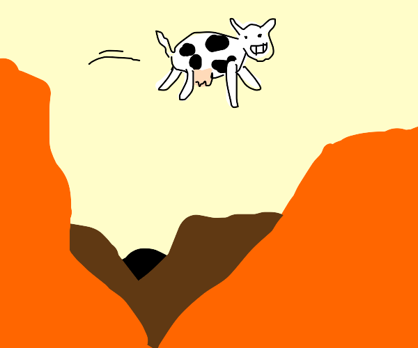 Cow jumps over big canyon