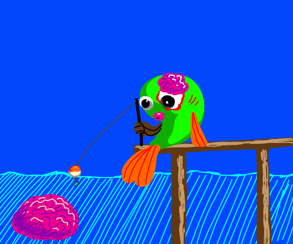 Fish going fishing for brains