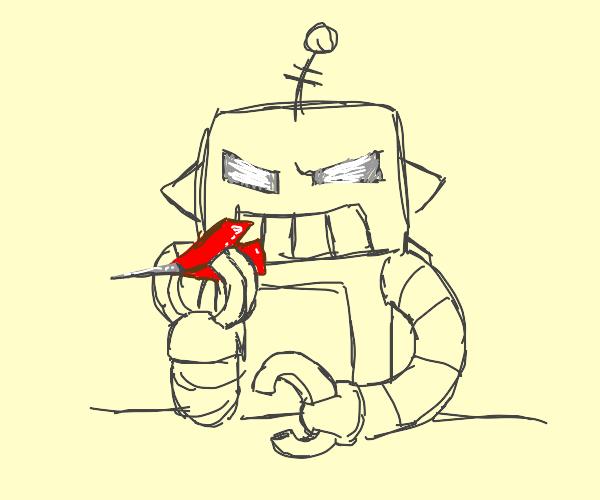 robot smoking a fat dart