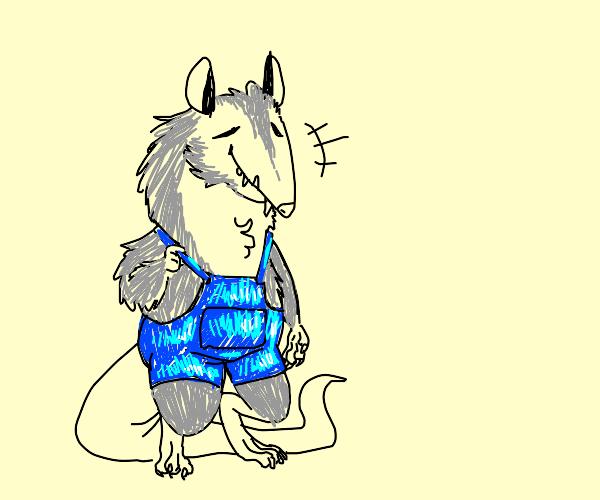 friendly opossum wearing blue overalls