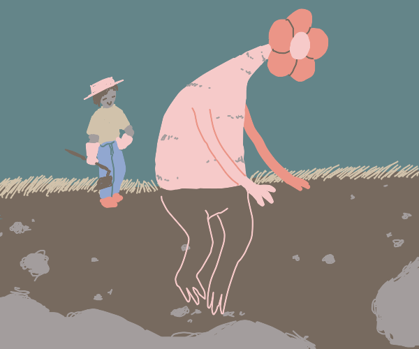 farmer harvests an enormous flower
