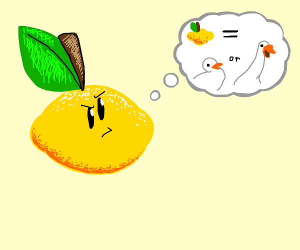 Lemon man questions if he is a goose or duck