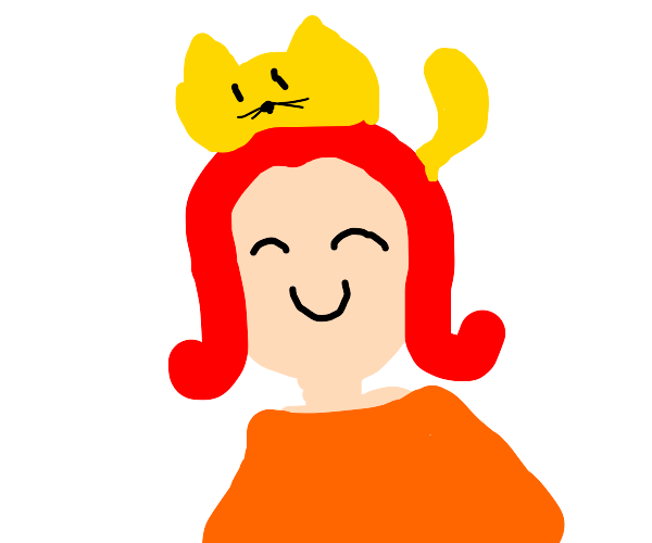 redhead girl with cats on her head