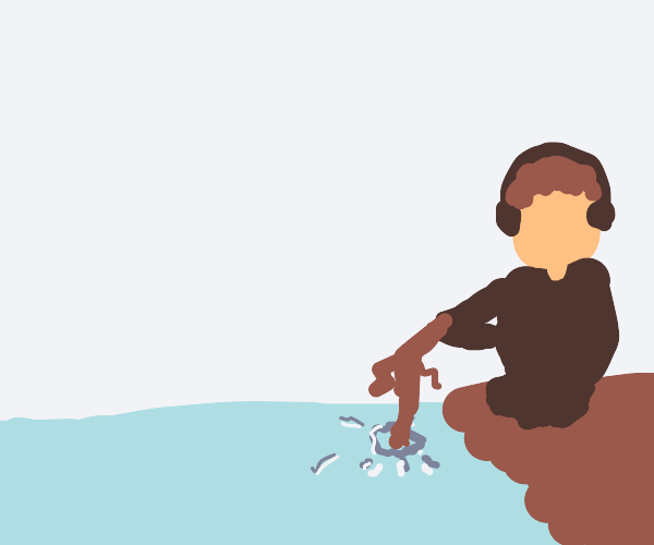man fishing from ice floe in arctic with twig