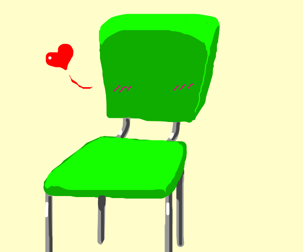 Green chair in love