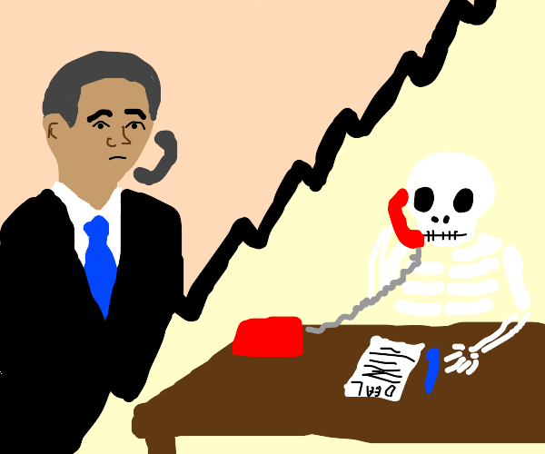 Obama Phoning A Skeleton About A Deal