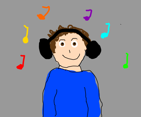 a person hearing music on there headphones