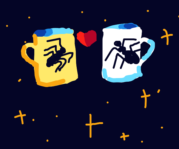 A pair of spider mugs kissing