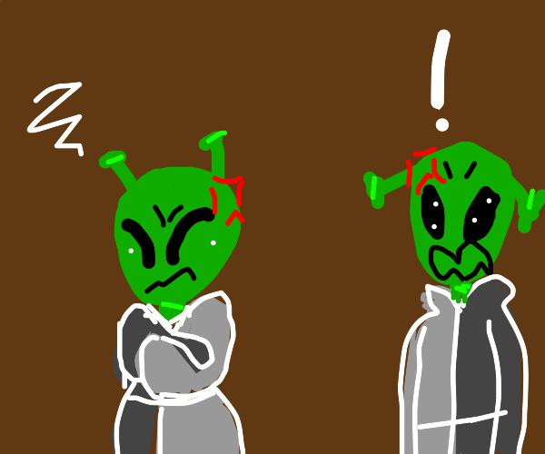 two aliens having an argument