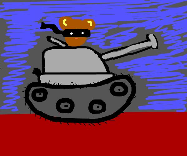 Bear with Zorro mask drives a tank