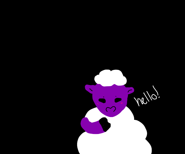 Friendly purple-skinned sheep says hello