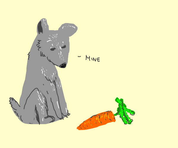stone dog has a carrot :D