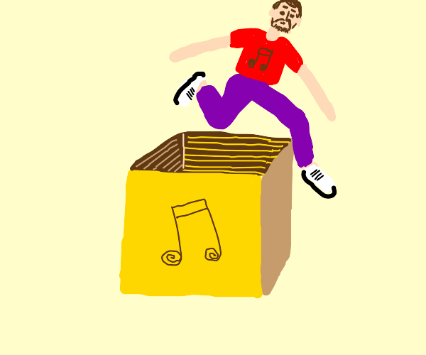 man jumping from a music box
