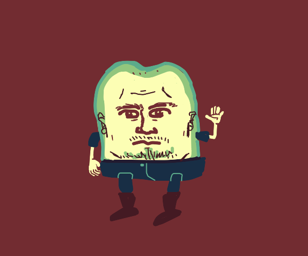 Green breaded man gives you a wave