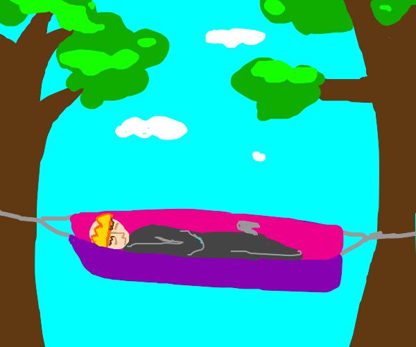 king resting in hammock