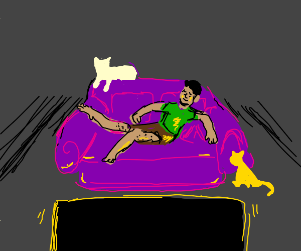 man watching TV while cats are on the couch