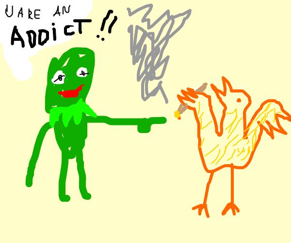 Kermit confronts big bird about his addiction