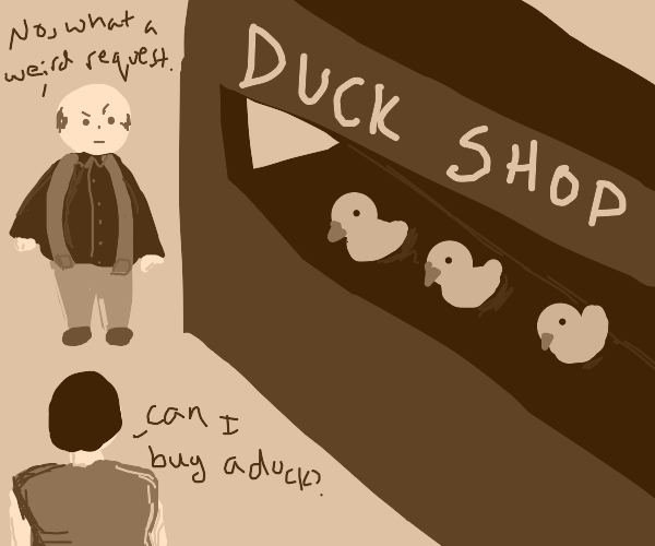 weird man sells ducks , doesn't want to sell
