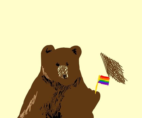 Proud lgbt brown bear