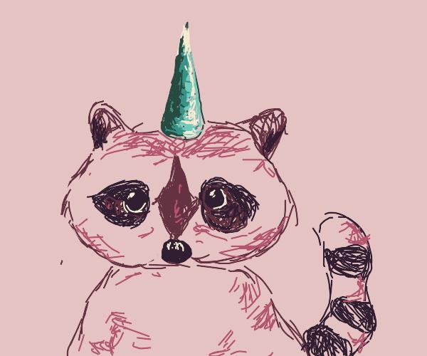 raccoon with a unicorn horn