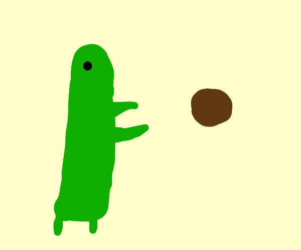 phallic green thing tries to catch brown ball