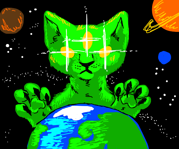 Alien cat takes over the Earth
