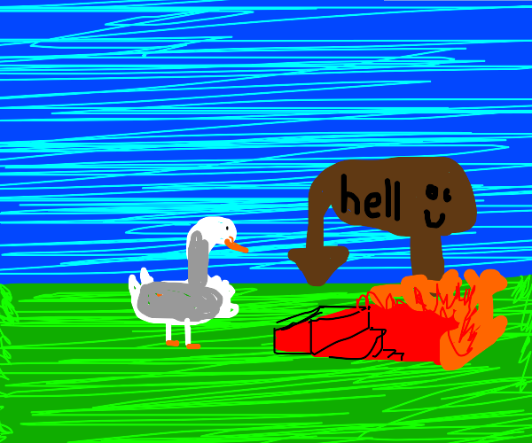 A duck waiting on steps which lead to hell