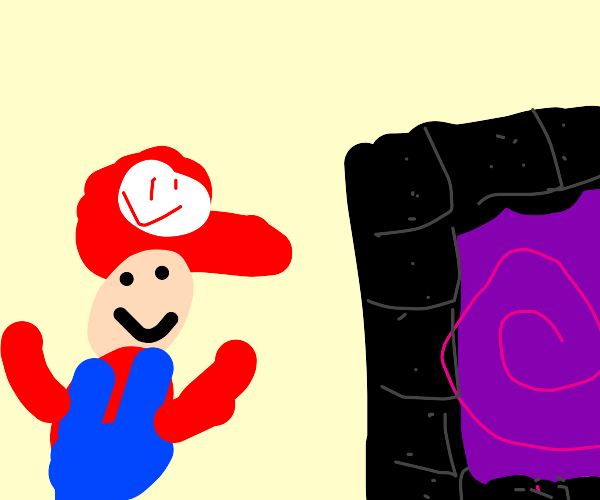 Mario spots the nether portal